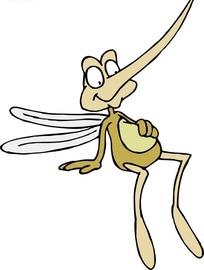 卡通画摸着肚子的蚊子图片