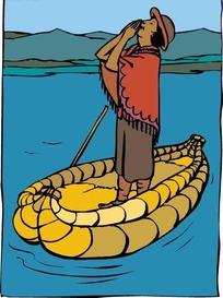 卡通画小船上的人