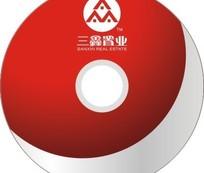 三鑫置业红色光盘封面设计模板