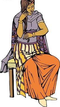 手绘坐在椅子上梳头的女人