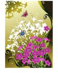 涂鸦卷草花纹背景上的报春花与蝴蝶