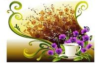 涂鸦卷草花纹背景上的咖啡杯与蝴蝶花