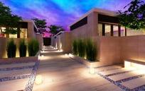 晚霞中的庭院走廊3ds模型