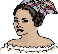 黑人女子手绘头像