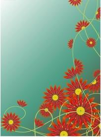 红艳的非洲菊与动感线条设计素材