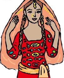 美丽的红衣女子手绘素材