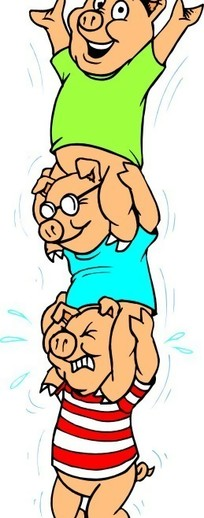 玩滑轮的卡通猪卡通画