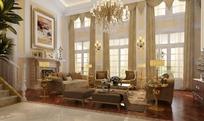奢华别墅客厅室内装饰设计效果图