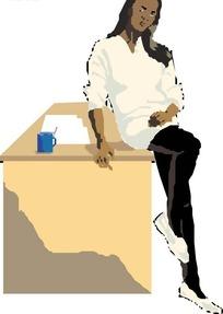 手绘半坐在桌子上的黑人美女