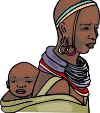 手绘背着婴儿的黑人女子