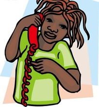 手绘打电话的黑人女孩