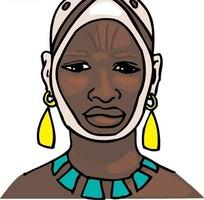 手绘戴耳环的黑人