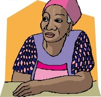 手绘单手靠在桌上的黑人女士