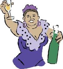 手绘端着酒杯的丰满女人