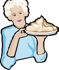 手绘端着食物的老奶奶