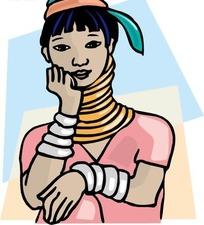 手绘非洲长脖子女人