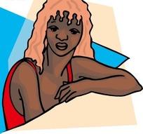 手绘手靠在桌子上的黑人美女