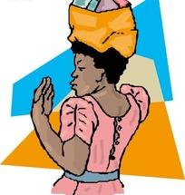 头上顶着东西的黑人女士手绘素材
