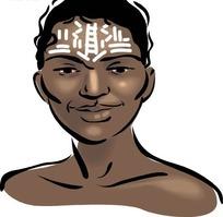 微笑的黑人女士手绘头像