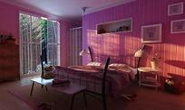 粉色温馨卧室3ds模型