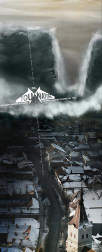 城镇海啸创意广告