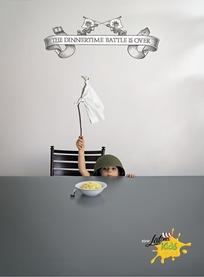 孩子对着食物举白旗的创意广告