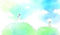 卡通水彩风景插画背景PSD分层素材