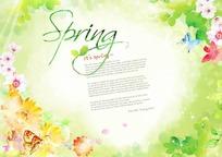 五彩缤纷的美丽春天 蝴蝶与花绚烂背景