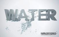 WATER立体字与水花