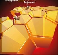 蜂巢形状图案和蜜蜂