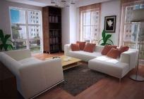 干净清爽小户型客厅布置效果图