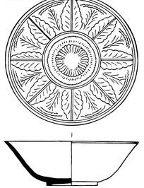 古代瓷碗圆形树叶花纹图案