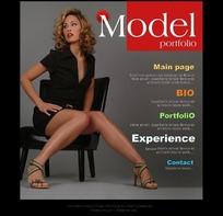 模特宣传册网页模板