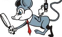 拿着枪和放大镜的卡通老鼠