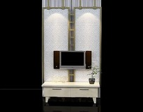 屏风造型电视背景墙3dmax模型