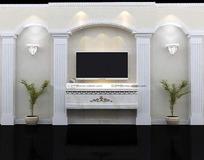 三拱带罗马柱电视墙3dmax模型