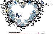 时尚蓝色心形花朵图案设计