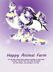 绚丽紫兰色花纹拼凑的两只鸟