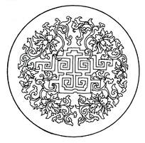 圆形构图缠枝莲花纹吉祥图案