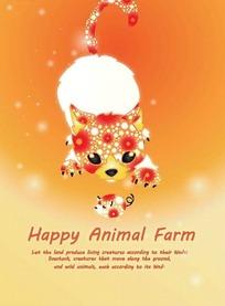 橙色色背景上的猫和老鼠拼图设计