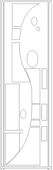 单色线条画S形分区几何图案hpgl格式