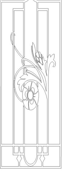 单色线条画几何图案与花朵藤蔓图案hpgl格式
