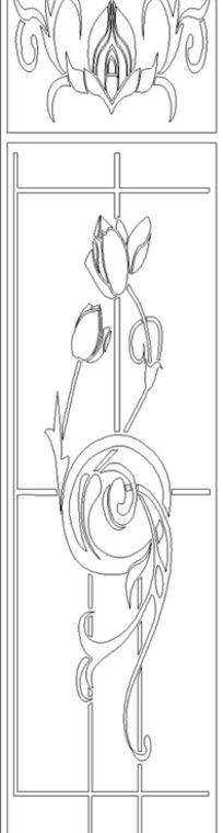 单色线条画叶子与欧式窗花hpgl格式
