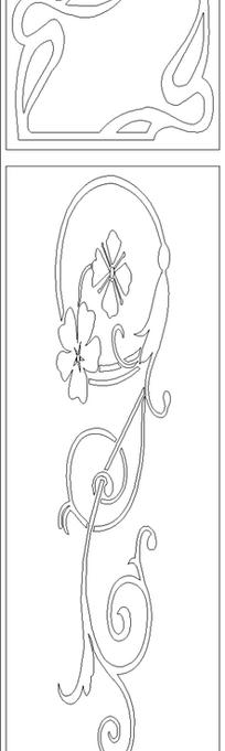 单色线条画植物藤蔓与花卉图案hpgl格式