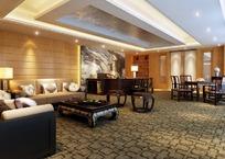 古典大厅装饰设计效果图3D模板素材下载