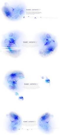 韩国蓝色花纹psd分层素材