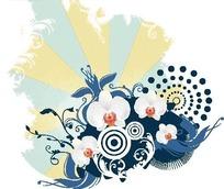黄色调涂鸦背景上的白色蝴蝶兰