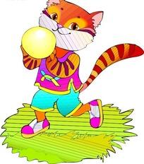 卡通画玩球的猫