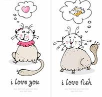 卡通可爱小猫咪插画矢量素材