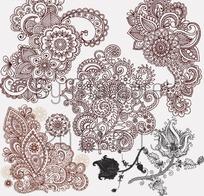 可爱古风白描花朵